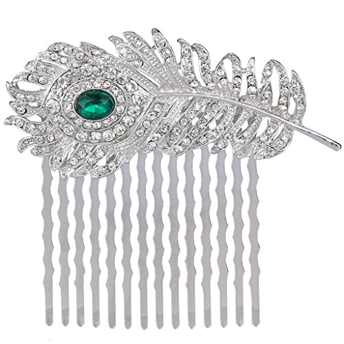 EVER FAITH Silver-Tone Austrian Crystal Elegant Peacock Feather Bridal Hair Side Comb Green