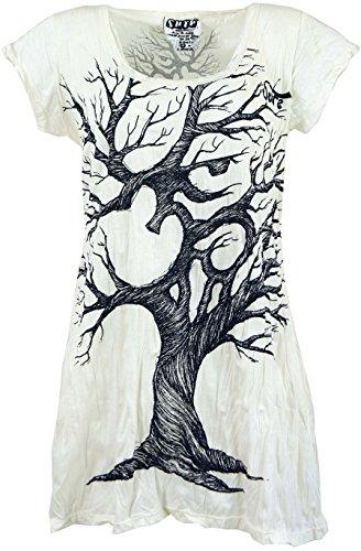 GURU SHOP Sure Long Shirt, Minikleid OM Tree, Damen, Weiß, Baumwolle, Size:S (36), Bedrucktes Shirt Alternative Bekleidung