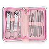 11 – 26 piezas de cortaúñas de uñas de acero inoxidable cortaúñas tijeras de cutícula alicates herramienta de uñas set 11 rosa