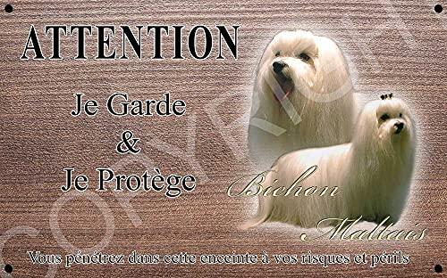 Pets-Easy.com Panneau Attention au Chien personnalisée Bichon Maltais - pré perforée et vis livrées. De 30 cm à 15 cm…