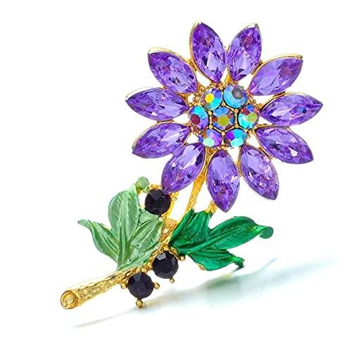 Zircon girasol margarita broches para las mujeres coloridas flores de diamantes de imitación broche pin fiesta elegante joyería