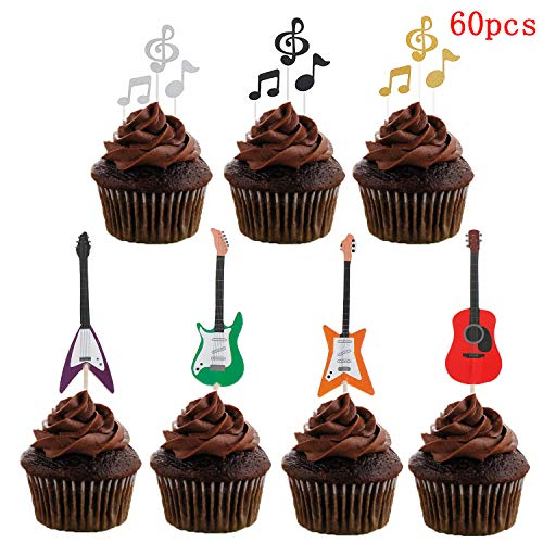 60 Pcs Music Notes Cupcake Toppers Guitar Rock Cake Toppers for Party Birthday Wedding Decoration