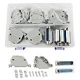 XLX 10 Unidades (5 Pares) DB25 Hembra a Macho Tipo de Soldadura Conectores Doble Fila 25 núcleo línea de Soldadura y 10 Set Gris plástico Capucha Completo Conjunto de Crimp Conector Surtido Kit