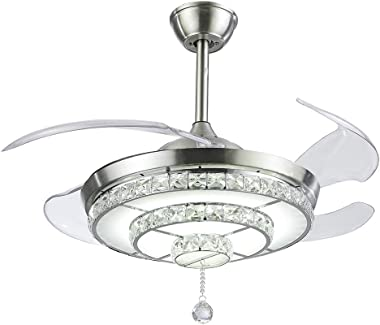 KALRI Modern 42'' Crystal Chandelier Ceiling Fan for Living Room Bedroom with LED Light Kit and Remote Control Invisible Ceiling Fan Light, Three Color Changing, Silver