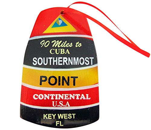Southernmost Point Buoy Replica Ornament Wooden Key West Christmas Tree Decoration, 4 inch
