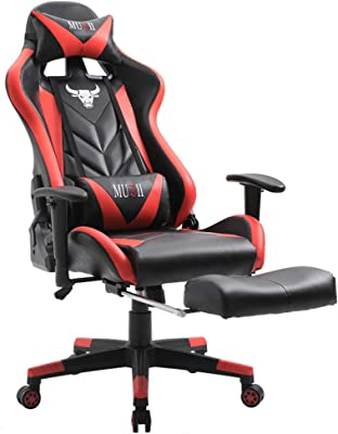 Muzii Gaming Chair Adjustable Reclining High-Back PU Leather Computer Gaming Chair Racing Style Swivel