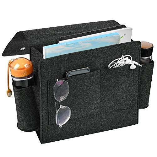 YOTINO Bett Tasche Sofa Organizer Dicke Filz-Bett-Caddy-Organizer Bettablage zum Einhängen mit Flaschenhalter Anti-Rutsch Aufbewahrungstasche für Buch Zeitschriften, iPad, Handy-Dunkelgrau