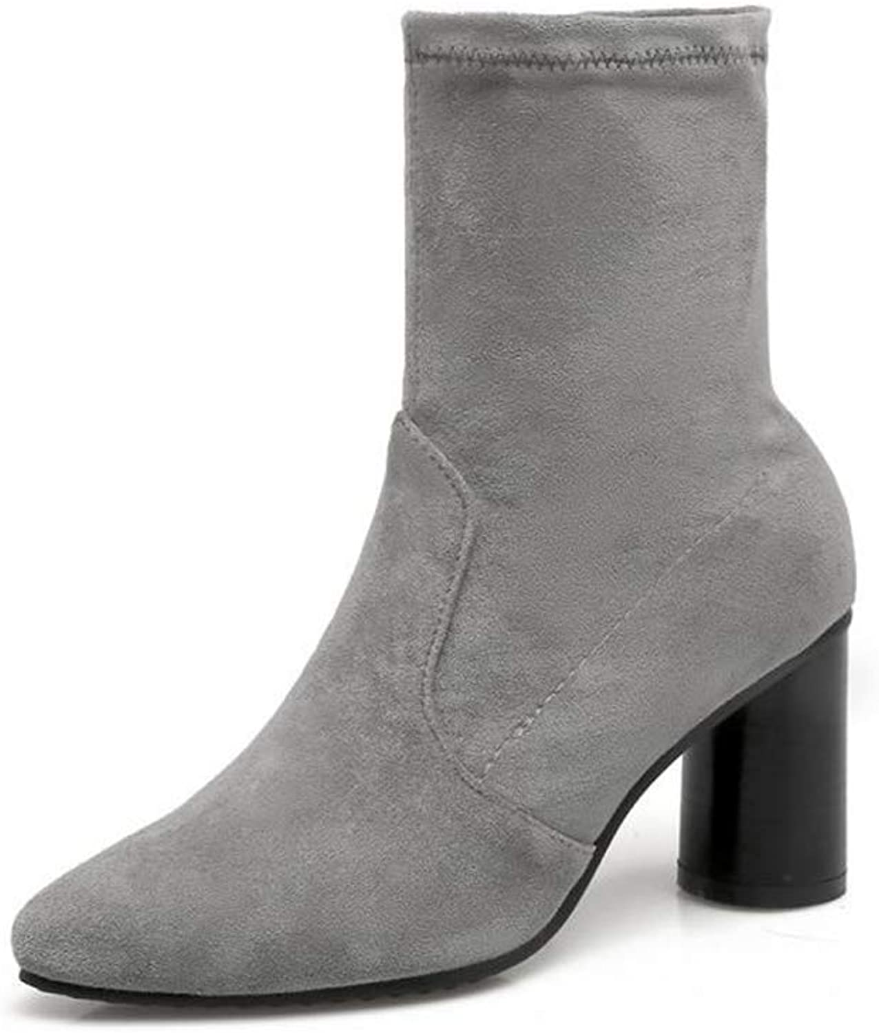 Fancyww Women's Suede Pointed Booties