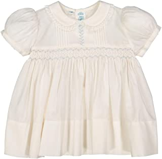 Feltman Brothers Girls Vintage Smocked Embroidered Lace Dress (NB) Cream