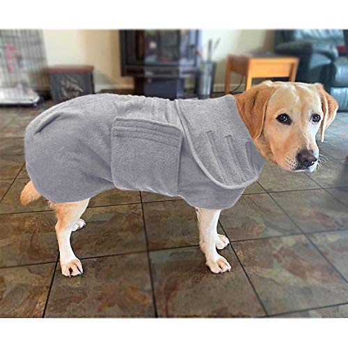 Bademantel für Hund, Hundebademantel Mittelgross, Super Absorbierende Mikrofaser Feuchtigkeit Schnell Aufnehmen, Der Kragen und die Taille Können in der Größe Angepasst Werden