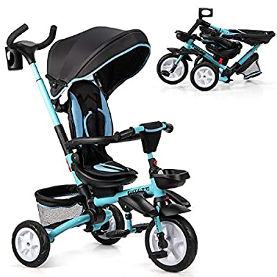 Baby Joy Baby Tricycle, 7-in-1 Kids Folding Steer Stroller w/Rotatable Seat, Adjustable Push Handle & Removable Canopy, Safety Harness, Cup Holder, Storage, Toddler Tricycle Trike for 1-5 Year Old from BABY JOY