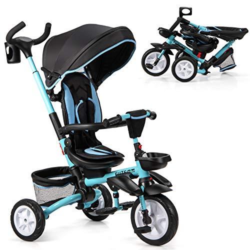 GOPLUS 6-in-1 Kinderdreirad, Dreirad mit 360° Drehsitz, Zusammenklappbarer Kinderwagen, Höhenverstellbare Schubstange, mit Sicherheitsgurt, Verstellbare Rückenlehne & Sitzfläche (Blau)