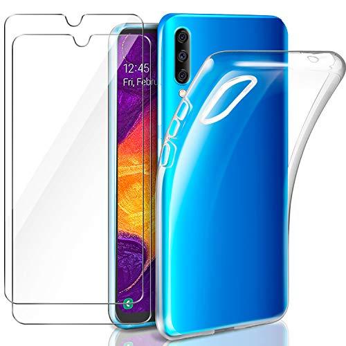 AROYI Samsung Galaxy A50 Hülle + [2 Stück] Panzerglas, Samsung Galaxy A50 Durchsichtig Handyhülle Transparent Silikon TPU Schutzhülle Premium 9H Gehärtetes Glas für Samsung Galaxy A50