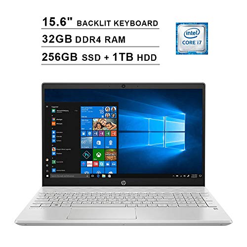 2020 HP Pavilion 15.6 Inch FHD 1080P Touchscreen Laptop (Intel Core i7-1065G7 up to 3.9GHz, 32GB DDR4 RAM, 256GB SSD (Boot) + 1TB HDD, Intel Iris Plus, Backlit KB, HDMI, WiFi, Bluetooth, Win10)