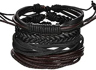 Mixed Genuine Cowhide Leather Bracelet Men Women Braided Adjustable Multi-layer Ethnic Tribal Wrap Bracelet
