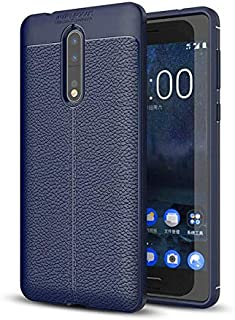 Nokia 8 case rubber leather pattern litchi Soft TPU Shockproof cover - Navy