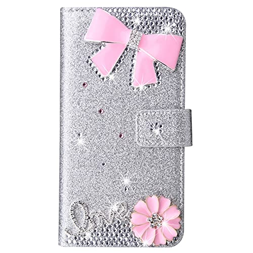 Blllue Funda De La Cartera Compatible Con El Iphone 11, Glitter Bling Love Pink Bow Pu Cuero Flip Phone Cover Para Iphone 11 - Plata