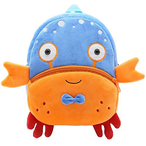 Haioo Mochila Infantil para Niños con Figuras de Animales Bonitos Mochilas Escolares para Niños 2-4 Años (Cangrejo)