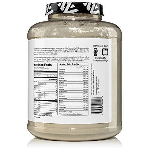 NAKED WHEY 5LB 100% Grass Fed Whey Protein Powder - US Farms, #1 Undenatured, Bulk, Unflavored - GMO, Soy, and Gluten Free - No Preservatives - Stimulate Muscle Growth - Enhance Recovery - 76 Servings 5