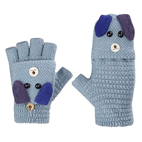 Fäustlinge mit Knopf Klappe Fingerlose Handschuhe für Kinder Winter Warm Strickhandschuhe Plüschfutter Winterhandschuhe in Kaninchen Optik, Blau, Einheitsgröße