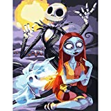 Shoci DIY Oil Painting, Paint by Numbers Kits for Kids , Adults and Beginner , Moon Skeleton 16x20 Inches