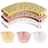 WUWEOT 150 Pack Cupcake Wrappers, Little Vine Lace Laser Cut Liner, Paper Baking Cups for ...