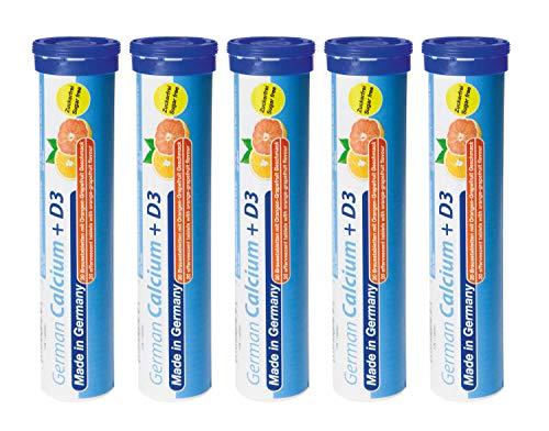 T&D Pharma German Calcium + Vitamin D3 Zuckerfrei 5x20 Brausetabletten - 500 mg Calcium, 2,5 μg Vitamin D3 – Orangen-Grapefruit Geschmack - Made in Germany
