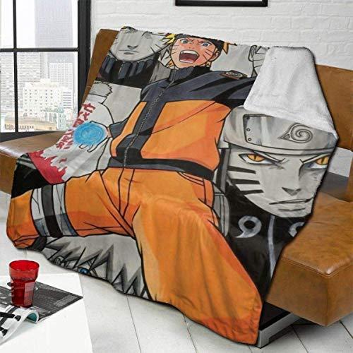 Anime Na-ru-to Character Cool Uzumaki Manta mixta, ligera, transpirable, tamaño doble, elegante, manta de lana de cordero, colchas para sofá, decoración del hogar, dormitorio, 60 x 50 pulgadas