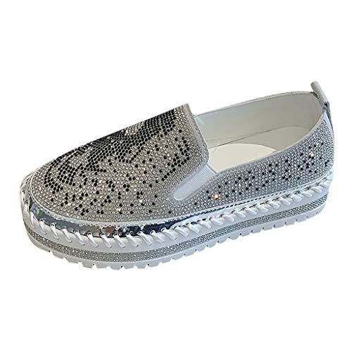 Slip On Sneakers Damen Mokassins Plateau Loafer mit Glitzer-Optik, Frauen Slipper Low Top Flache Schuhe Bequeme Leichte Atmungsaktive Freizeitschuhe Schöner Damenschuhe Celucke (Silber, 43 EU)