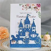 キラキラの城レーザーカット結婚式の洗礼のための招待状カードポケット誕生日卒業パーソナライズされた印刷マルチカラー-blue_just_pocket