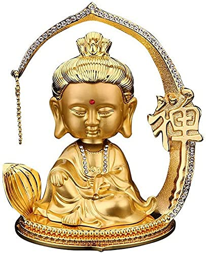 JJDSN Estatuas de Quan Yin, pequeña Figura, Adorno de Escultura de Estatua de Buda de Guan Yin, decoración de la Diosa de la Misericordia de Kuan Yin para el hogar, Coche, Dorado