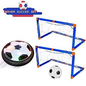 Shayson Porterias de Futbol para niños-Juego Deportivo para niños-Air Power Soccer Ball con Luces LED, Juguetes para niños, entrenando fútbol al Aire Libre en Interiores con 2 Puertas