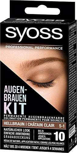SYOSS Augenbrauen-Kit permanente Augenbrauenfarbe 5-1 Hellbraun, natürlicher Look, 1er Pack (1 x 17 ml)