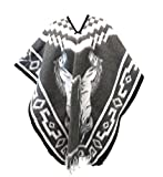 Authentic Mexican Poncho Reversible Cobija Blanket (Grey Horses)