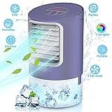 Mobile Klimageräte, Persönliche Mini Klimagerät 4in1 mit Tragbarem Griff, Klimaanlage Luftkühler Wasserkühlung Luftbefeuchter 3 Modi und 2/4h Timing Air Cooler für Büro und zuhause