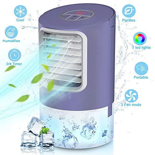 Mini Raffreddatore D'aria,Personale Basso Rumore Climatizzatore Portatile 4in1 Aria Condizionata,Ventilatore da Scrivania,Umidificatore,7 Colori LED, 3 modo 2/4h Timer Air Cooler condizionatore d'aria