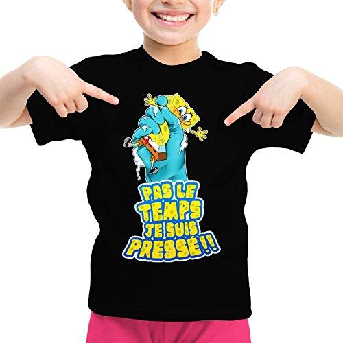 Okiwoki T-Shirt Enfant Fille Noir Bob l'éponge parodique Bob : Eponge pressée. (Parodie Bob l'éponge)