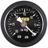 "JEGS Vacuum Gauge   1.5"" Diameter   Liquid-Filled   0-30 PSI   Black Dial   1/8 "" NPT Male Fitting   Black Steel Case & Bezel"
