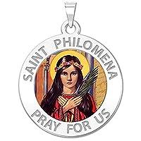 Saint Philomenaで使用できる色–ソリッド10K and14K黄色またはホワイトゴールド、またはスターリングシルバー