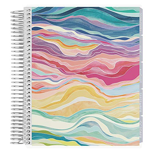 Erin Condren 18 - Month 2020-2021 Layers Colorful Coiled Life Planner with Layers Neutral Interior (July 2020 - December 2021) Hourly Layout. Organizer, Monthly Calendar Tabs and Stickers