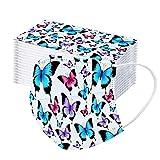 GJKK 50PC Einmal-Mundschutz Schmetterling mit Motiv Erwachsener männlicher und weiblicher Schutz dreischichtiger Einmal Mundschutz Mund und nasenschutz