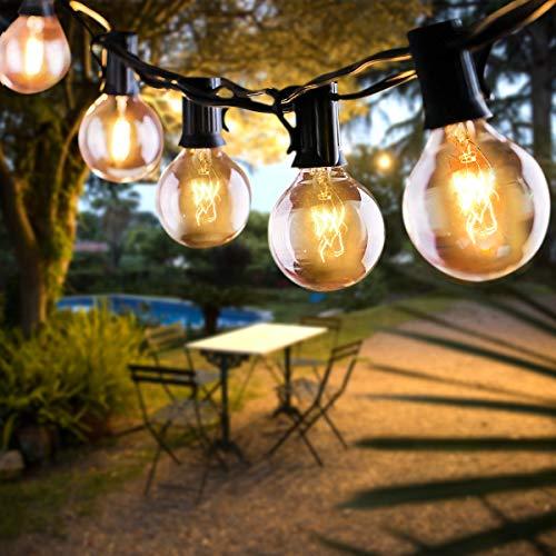 FOCHEA Cadena de luces para exterior con bombillas G40, 11 m, 30 bombillas, cadena de luces LED para jardín, IP44, impermeable, para Navidad, boda, fiesta, exterior, decoración, blanco cálido