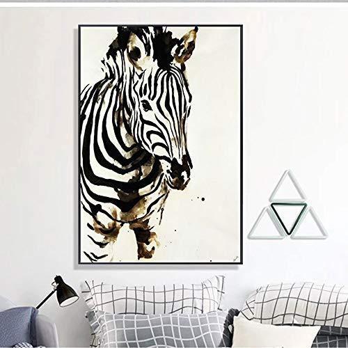 LCSD Mural Europeo Moderno Abstracto Animal Arte Cebra Pintura Decorativa Marco De Cuadro Negro Pintura De Pared Mural 40 * 60 CM Porche En Casa Sala De Estar Hotel HD Micro Spray