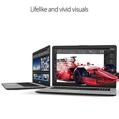 "ASUS VivoBook Pro Thin & Light Laptop, 17.3"" Full HD, Intel i7-8550U, 16GB DDR4 RAM, 256GB M.2 SSD + 1TB HDD, GeForce GTX 1050 4GB, Backlit KB, Windows 10 - N705UD-EH76, Star Gray, Casual Gaming"