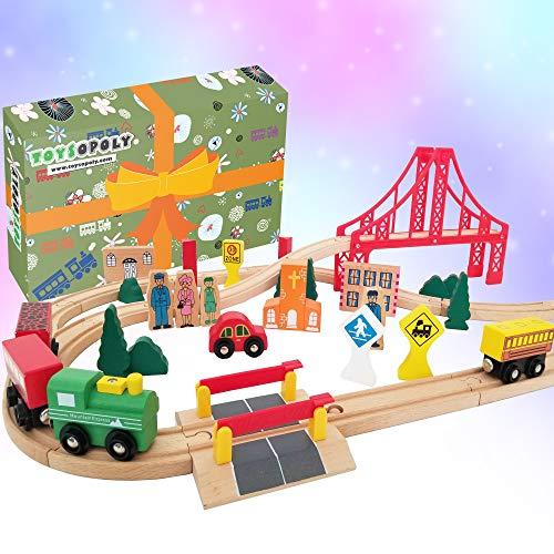 Wooden Train Tracks Full Set, Deluxe 55...