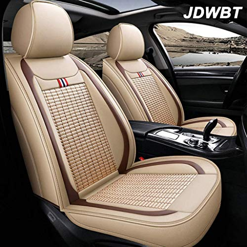 JDWBT Autositzbezüge Set,Schonbezüge Auto 5 Universelle,Leder Sitzbezüge Auto Mit Wasserdichtem Leinen A3 / a4 / a5 / a6 / a8 / q3 / q5 / RS4/ x1 / x3 / x5 / x6/k5/Srx(Color : Beige)