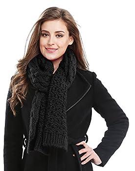Bellady Long Knitted Twist Shoulder Scarf Winter Thick Warm Shawl Black One Size