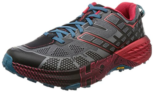 HOKA ONE ONE Speedgoat 2 Trail Running Shoes - Men's Black/True Red 10