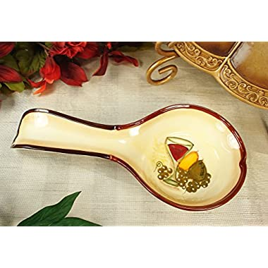 Wine Cellar Ceramic Spoon Rest - Wine & Pears Design