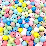 Feelairy 100 Piezas Cuentas de Madera Coloridas, Bolas de Madera 16mm para Enhebrar Cuentas Artesanales Redondas en Color Mezclado para Pulseras de Bricolaje Joyería Artesanal